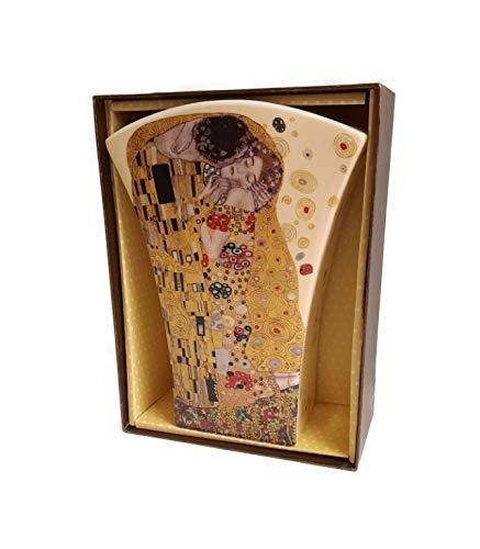 Blumenvase Gustav Klimt Der Kuss Crema Porzellan mit Geschenkbox Tischvase