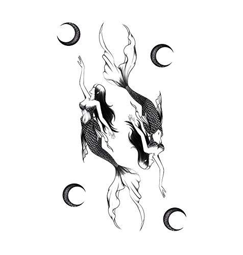 2 feuilles lune sirène autocollants de tatouage temporaire pour Cosplay Costumee Party couvrant les cicatrices