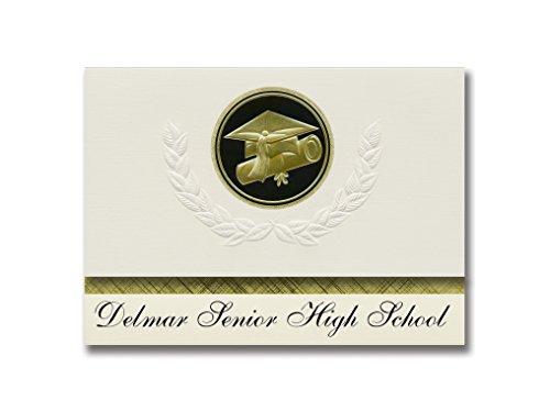 Signature Announcements Delmar Senior High School (Delmar, DE) Abschluss-Ankündigung, Presidential Style, Elite Paket mit 25 Cap & Diplom Siegel Schwarz & Gold