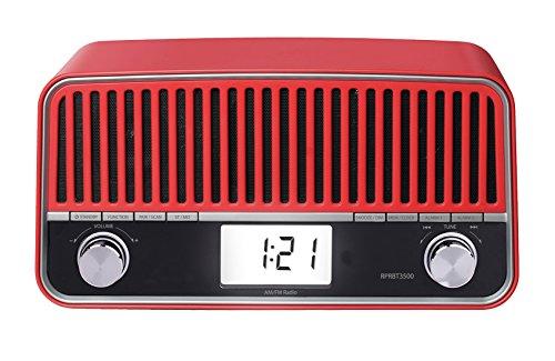 Sunstech RPRBT3500RD - Radio de sobremesa, con diseño retro (AM/FM, PLL, Bluetooth,...