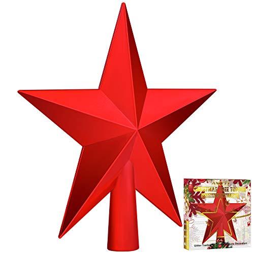 Aneco Traditionelle glänzende Weihnachtsbaumspitzen, Dekoration, Stern, Baumspitze, Ornamente, Urlaubsdekoration für Heimdekoration