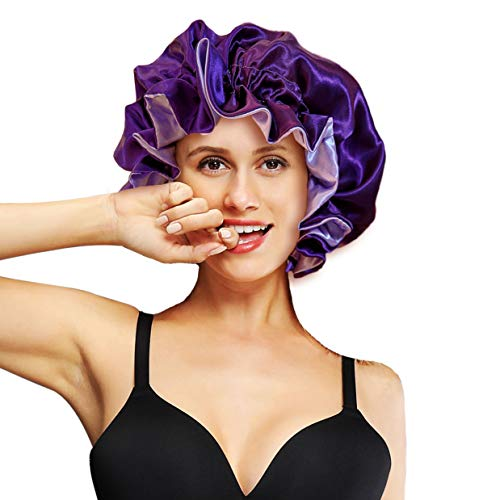 LUCKELF Double Layer Satin Bonnets Wide Ruffle Sleeping Cap for Curly Hair Bonnets for Black Women (ADULT, Purple)