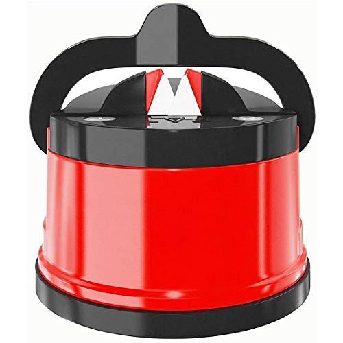 Yolistar Affilacoltelli con Ventosa, Professionale Antiscivolo Ergonomico Manuale Affilacoltelli da Cucina, Forbici Knife Sharpener (Rosso)