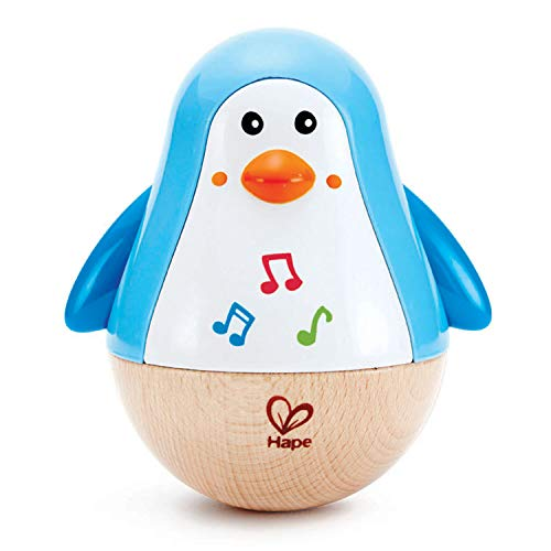 Hape Penguin Musical Wobbler   Colorful Wobbling Melody Penguin, Roly Poly Toy for Kids 6 Months+, Multicolor, 5'' x 2'' (E0331)