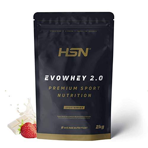 Concentrado de Proteína de Suero Evowhey Protein 2.0 de HSN | Whey Protein Concentrate| Batido de Proteínas en Polvo | Vegetariano, Sin Gluten, Sin Soja, Sabor Fresa Chocolate Blanco, 2Kg