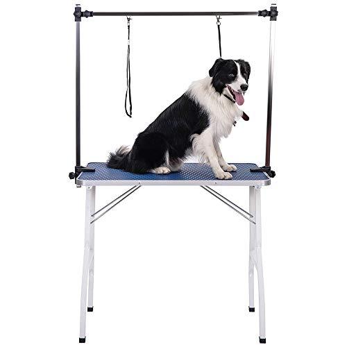 Carsparadisezone Klappbarer höhenverstellbar Tragbarer Haustierpflegetisch Hundepflegetisch für Haushaltsbaden Trimmtisch 91cm x 60.5cm x 76.5cm (Blau)