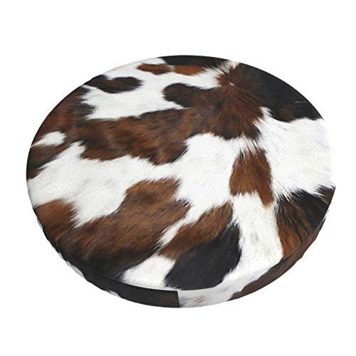 Decams Funda de cojín redonda de piel de vaca, color negro y blanco, textura ilusiones, taburete de bar, funda de cojín para cocina, bar, oficina, comedor