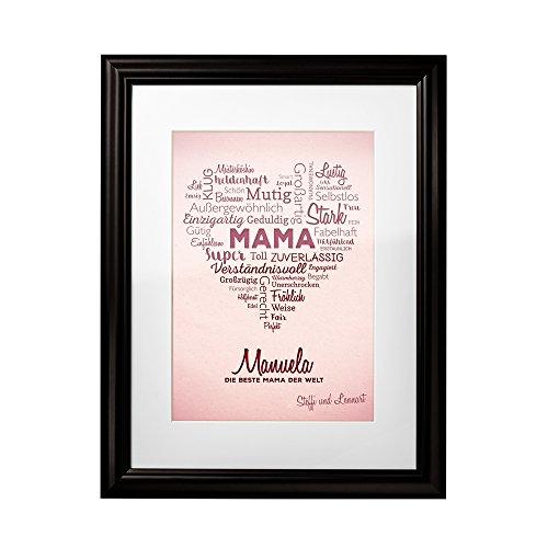 Bild – Wortherz für Mama – Personalisiert mit [Namen] – Hochwertiger Druck im dunklen Bilderrahmen – Geschenk-Idee für Mütter – Muttertagsgeschenk – klein: 23 x 30 cm