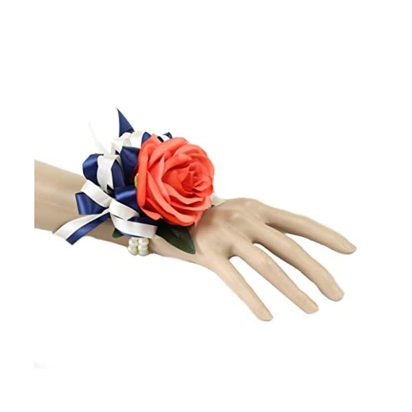 Angel Isabella, LLC Build Wedding Package – Coral, Navy, and Ivory Keepsake Artificial Flowers Bouquet Corsage Boutonniere (Wrist Corsage)