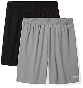 Amazon Essentials Men's 2-Pack Loose-Fit Performance Shorts Black/Medium Grey XX-Large