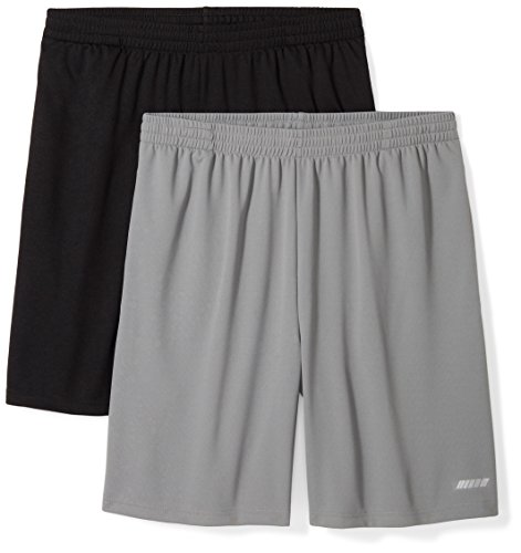 Amazon Essentials Men's 2-Pack Loose-Fit Performance Shorts, Black/Medium Grey, Large