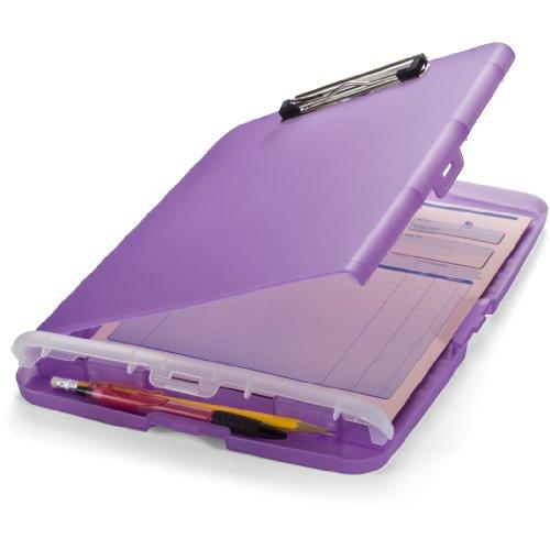 Officemate A4 Clipboard mit Aufbewahrungsbox für Studenten, Lehrer, Vertrieb, Büro - Zwischenablage - Aufbewahrungskoffer - Besonders Flach – lila/violett