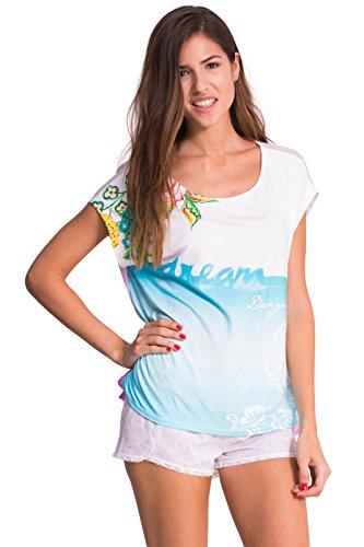 Alto de pijama–Camiseta Cadaques–Desigual–blanco, turquesa, rosa, Blanc, turquoise, rose, 40/42