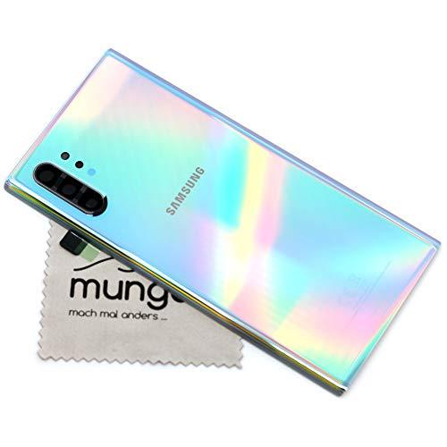 Tapa de batería para Samsung Original para Samsung Galaxy Note 10 Plus N75F Plateado Cubierta Posterior Panel Trasero con mungoo Pantalla paño de Limpieza
