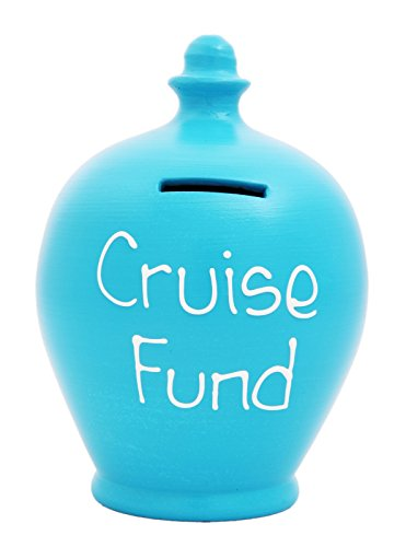 Terramundi Money Pot - Pale Blue With Cruise Fund Written In White S83 by Terramundi