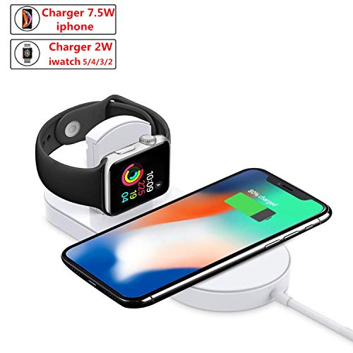 ZDAGO Wireless Charging Pad 2 in 1Wireless Charging pad Qi-Certified 10W Max Fast Wireless Charging Compatible for iPhone 11/11 pro/XR/XS/ 7/8/8 Plus and Compatible for Apple Watch Series2/3/4/5/6