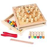 ZSDFW Montessori Baby Toys - Palos de ajedrez de memoria de madera con clip para aprendizaje temprano, juegos educativos, regalo de cumpleaños de Navidad para niños de 2 3 4 años