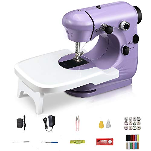 Jeteven Mini Electric Sewing Machine, Portable Household Sewing Machine Lightweight Handheld Sewing Machine Kit for Beginners, Kids, Crafting DIY, Travel (Purple)