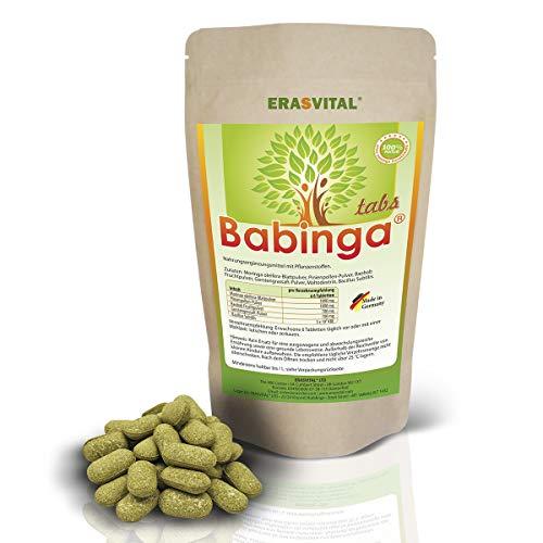 BABINGA® Presslinge 180 Tabletten = 127g Pine Pollen Moringa Baobab Gerstengrassaft Bacillus Subtilis Hergestellt in Deutschland