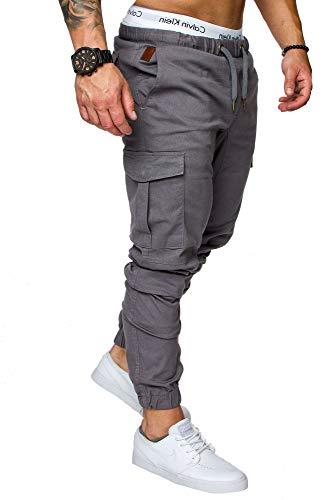 REPUBLIX Herren Cargo Jogger Chino Hose Pants Mit Stretch R0701 Dunkelgrau W32