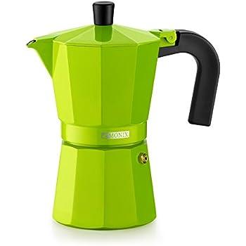 Monix Lima-Cafetera Italiana de Aluminio, 6 Tazas, Color Verde, 10 ...
