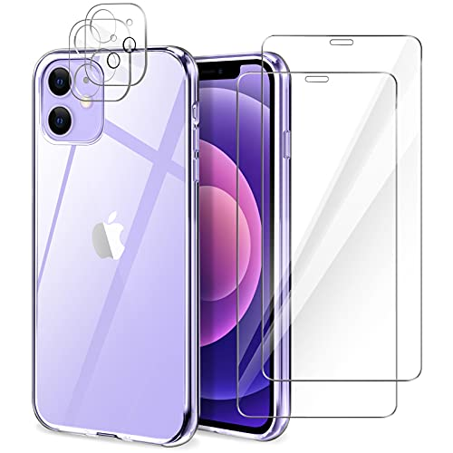 YIRSUR Funda Compatible con iPhone 12 con 2 Pack Cristal Templado Protector de Pantalla y 2 Pack Protector de Lente de Cámara, Suave TPU Silicona Carcasa Transparente Case Cover