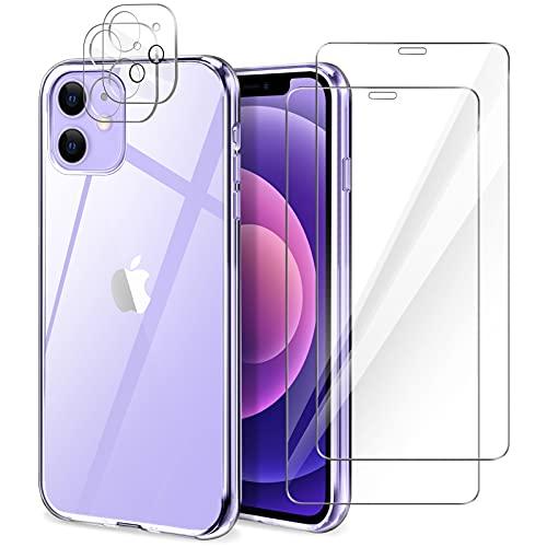 YIRSUR Cover Compatibile con iPhone 12 con 2 Pezzi Vetro Temperato Pellicola Protettiva e 2 Pezzi Protettore Lente Fotocamera, Trasparente Custodia Protettiva Antiurto Morbida e in Silicone