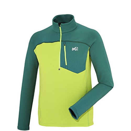 MILLET Technostretch Z Pull Homme, Multicolore (Acid Green/Jasper), S