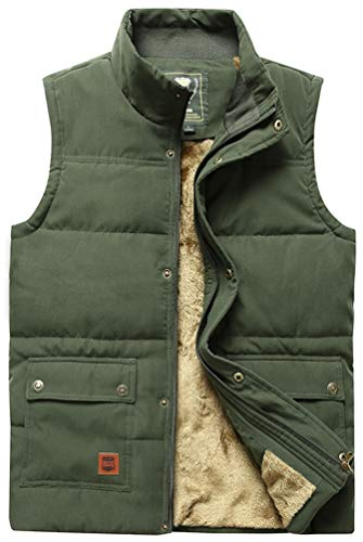 Vcansion Men's Outdoor Casual Stand Collar Thicken Qulited Fleece Jacket Vest Padded Vest Lightweight Down Cotton Vest Coat Army Green US L