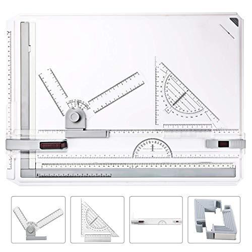 Oppikle A3 Zeichenplatte Zeichenplatte einfache Zeichenplatte DIN A3 geo-Board zeichenplatte Parallel-Zeichenschiene, nutführung mit Zubehör 49x35.5cm (A3)