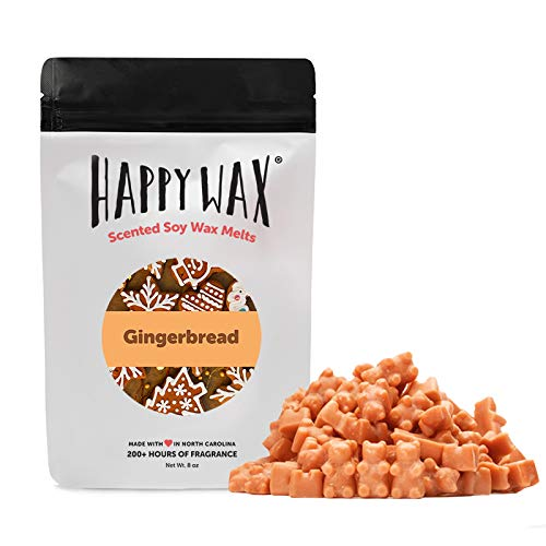 Happy Wax Gingerbread Soy Wax Melts - Cinnamon Scented Wax Melts Infused with Essential Oils - Cute Bear Shaped Wax Tarts Perfect for Melting in Your Wax Warmer (Large 8 Oz. Half Pounder Pouch)