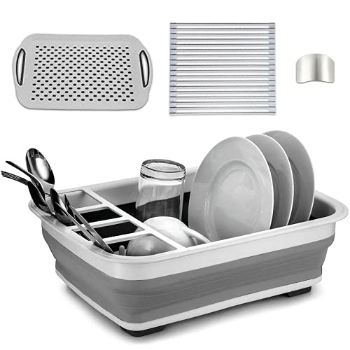 Collapsible Dish Drying Rack Drainer Drainboard Set, Kitchen Counter Sink Drainers Organizers & Storage, Adjustable Dish Strainers drain racks, Drainers dishes tray, Dryer RV, Escurridor de platos