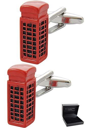 COLLAR AND CUFFS LONDON - Boutons de Manchette avec Boite-Cadeau - Grand Qualité - Cabine Téléphonique - Laiton - Couleur Rouge - Téléphone