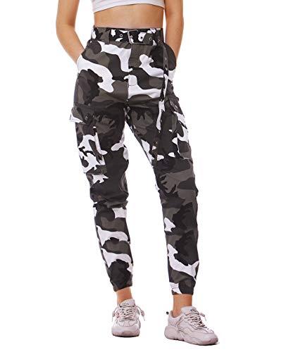 AIDEAONE Damen Hosen Camouflage High Waist Sport Hosenanzug Trainingshose, A-weiß, L