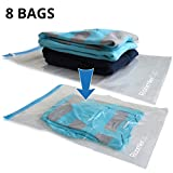 RoomierLife 8 Travel Space Saver Bags. Pack of 8 Bags, size Medium to Large. Roll-Up Compression Storage (No...