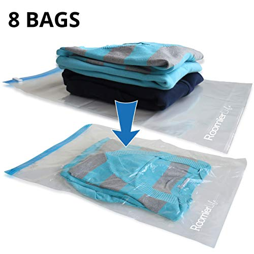 RoomierLife 8 Travel Space Saver Bags. Pack of 8 Bags, size Medium to Large. Roll-Up Compression Storage (No Vacuum Needed) & Packing Organizers. Perfect for Travel and Home Storage