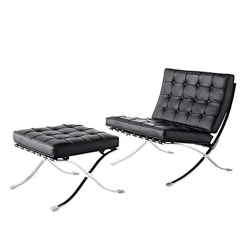 LIXUDECO Lounge Chair. Moderner Mid Century Liegestuhl mit osmanischer klassischer Ausstellung schwarzer echter Lederstuhl & Bench-Set (Color : BK)