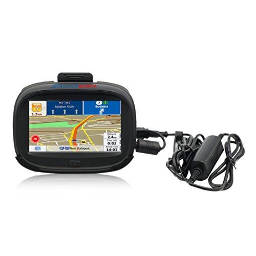 'Excelvan iw43–Navigateur GPS pour voiture et moto (Windows CE 6.0, écran TFT 4.3, imperméable, Bluetooth, RAM 256Mo et ROM 8Go, Carte intégrée, navigation avec voix), noir