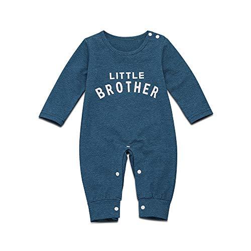 YOUNGER TREE Unisex Baby Autumn Romper Long Sleeve One Piece Solid Color Cotton Bodysuit Jumpsuit for Newborn Infrant (Dark Blue Bodysuit, 0-6M)