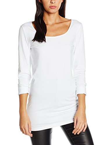 Vero Moda Damen VMMAXI MY LS SOFT LONG U-NECK NOOS' Langarmshirt, Weiß (Bright White), 40 (Herstellergröße: Large)