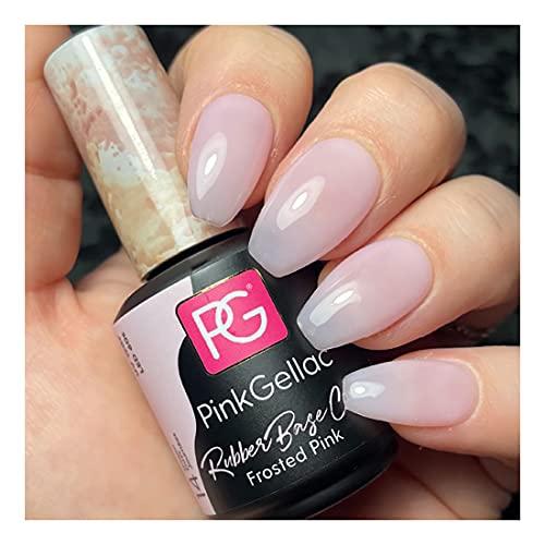 Pink Gellac Rubber Base Cover - Esmalte de uñas de gel rosa esmerilado, 15 ml, para lámpara UV o LED, gel Shellac para lámpara UV