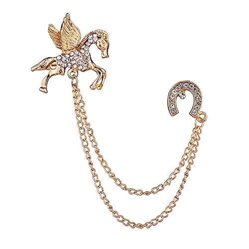 KUOZEN Broches Imperdibles Piedras Preciosas Broche De Broche de joyería Borla Cadena Broche Broche de Collar Broches para Hombre Blazer Broche de Oro Gold