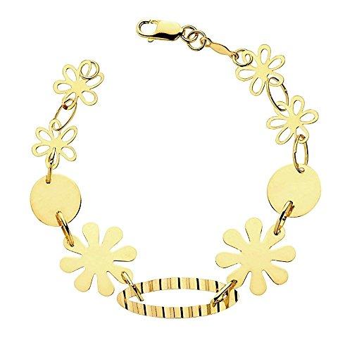 Pulsera oro 18k flores y chapitas 20cm. 4,80gr. [AB3357]