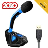 KLIM Voice Microphone à Pied USB pour Ordinateur - Micro de Bureau Professionnel - Microphone de Gamer PC PS4 - Nouvelle Version 2020 - Bleu
