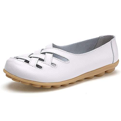 Eagsouni Mokassins Damen Leder Loafers Beiläufig Bootsschuhe Flatschuhe Halbschuhe rutschfest Flache Fahren Schuhe,Weiß,40 EU