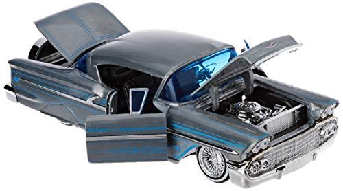 Dickie Toys-1958 1958 Chevy Impala Hard Top Wave 1-Vehículo Die-Cast, con Rueda Libre, Jada Toys, Color Plata – Metalic Cepillado. (253745000)