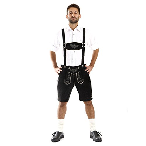 Almbock Trachtenhose Herren kurz schwarz - Herren Lederhosen aus geschmeidigem Rinds-Veloursleder - Leder Hosen Herren Oktoberfest - Lederhose Gr. 46