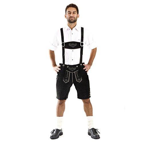 Almbock Trachtenlederhose Herren kurz schwarz - Trachtenhose Herren kurz aus geschmeidigem Rinds-Veloursleder - Lederhose kurz - Trachten Shorts 56