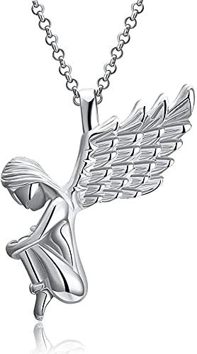 Yiffshunl Collar Moda Unisex Aleación de Zinc Colgante Collar Colgante Collar Alas de ángel Collar 24 Platino