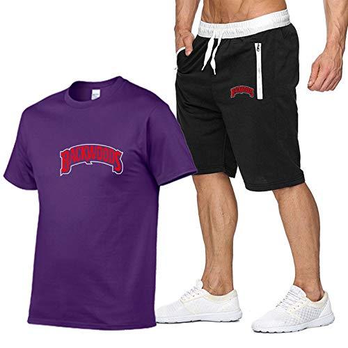 GIRLXV Camiseta Backwoods con Estampado De Letras para Hombre + Pantalón Corto con Bolsillo Traje para Hombre Camisa Hidratante Y Absorbente De Sudor S